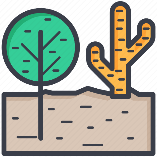 cactus, desert plant, nature concept, shrub tree, tree icon