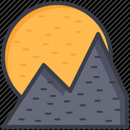 hill station, hills, landscape, mountain range, sun icon