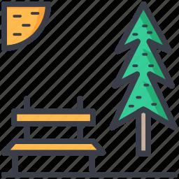 bench, park, sky, sun, tree icon