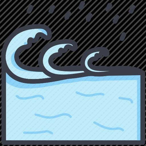 aqua, ocean, sea, water splashing, water waves icon