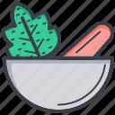 herbs, kitchen utensil, mortar, pestle, pharmacy tool