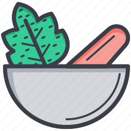 herbs, kitchen utensil, mortar, pestle, pharmacy tool icon