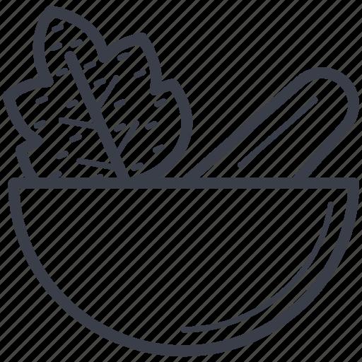 herbs, kitchen utensil, mortar, pestle, pharmacy tool icon