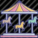 amusement ride, carousel, funfair, horse carousel icon