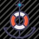 anchor, lifebuoy, marine, nautical, ocean, sail, ship icon