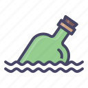 alcohol, bottle, map, ocean, sea icon