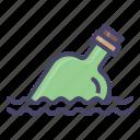 alcohol, bottle, map, ocean, sea icon