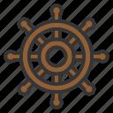 boat, nautical, sailor, ship, steer, transportation, wheel icon