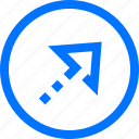 askew, circle, direction, move, navigation, right, up icon