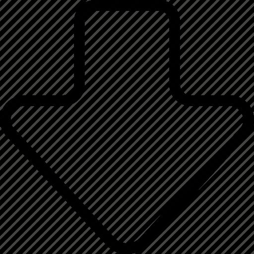arrow down, bottom, direction, down, fat arrow bottom, navigation icon