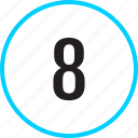 chart, eight, number, track icon