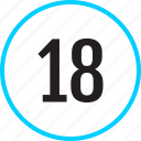 chart, eighteen, number, track icon