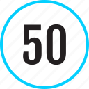 chart, fifty, number, track icon