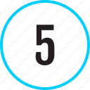 chart, five, number, track icon