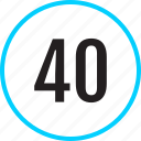 chart, fourty, number, track icon