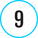 chart, nine, number, track icon