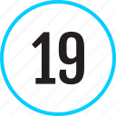 chart, nineteen, number, track icon