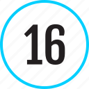 chart, number, sixteen, track icon