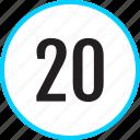 chart, number, track, twenty icon