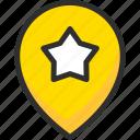 favorite, location, mark, navigation, pin, pointer, star icon