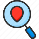 location, loupe, magnifier, navigation, pin, pointer, search icon