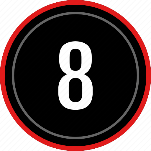 eight, number, ui, ux icon