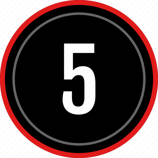 five, number, ui, ux icon