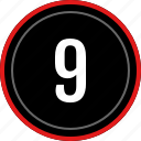 nine, number, ui, ux icon