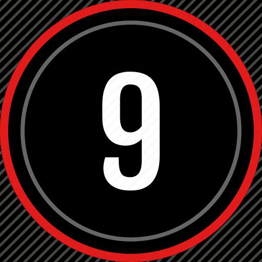 nine, number, ui, ux icon