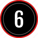 number, six, ui, ux icon