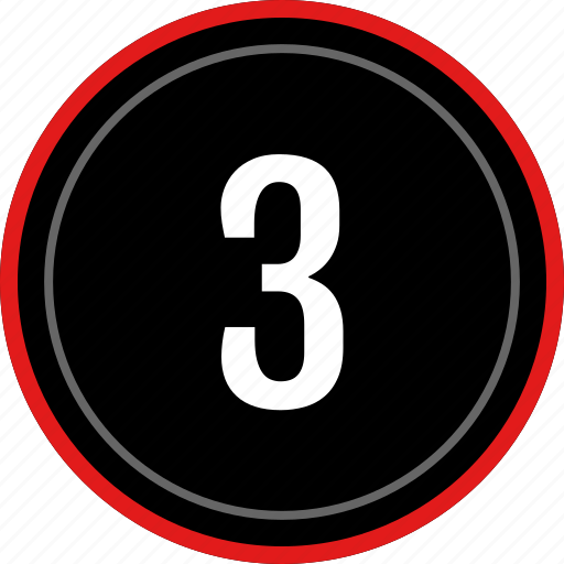 number, three, ux icon