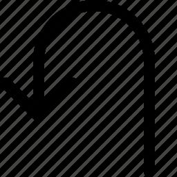 arrow, back, left, turn icon