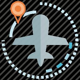 pin, plane, travel icon