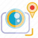 camera, location, pin icon