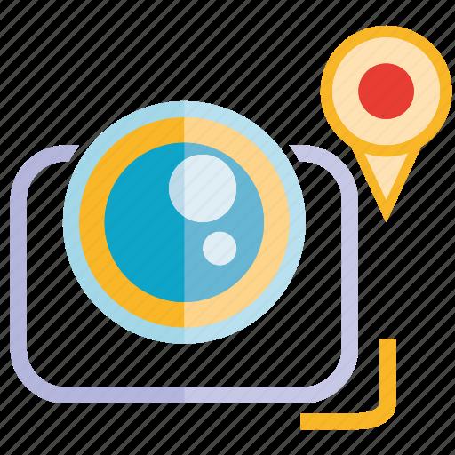 camera, location, pin icon