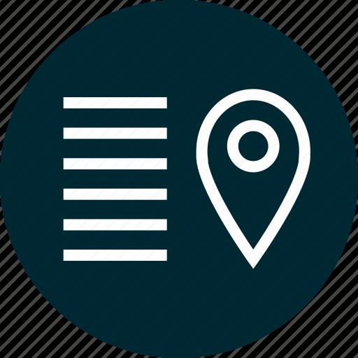 description, gps, location, pin icon