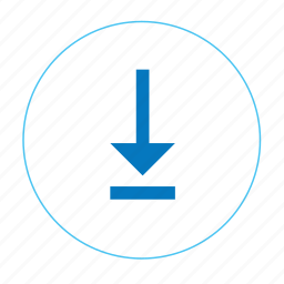 arrow, arrow bottom, download, navigation, navigation bottom, round download icon