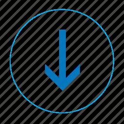 arrow, arrow down, bottom, download, navigation, navigation bottom, round download icon