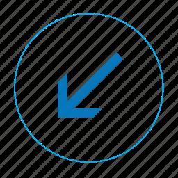 arrow, arrow left down, navigation arrow, navigation left down icon