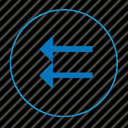 arrow, arrow left, back page, left, navigation left, previous, two arrow left icon