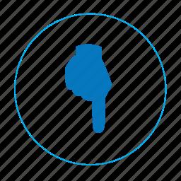 arrow, arrow down, bottom, hand, navigation, navigation down, point bottom icon