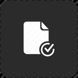 accept, check, confirm, doc, document icon