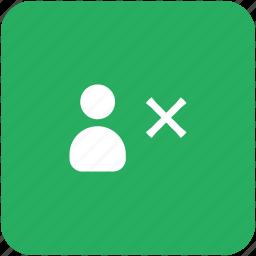 ban, close, delete, green, id, person, user icon