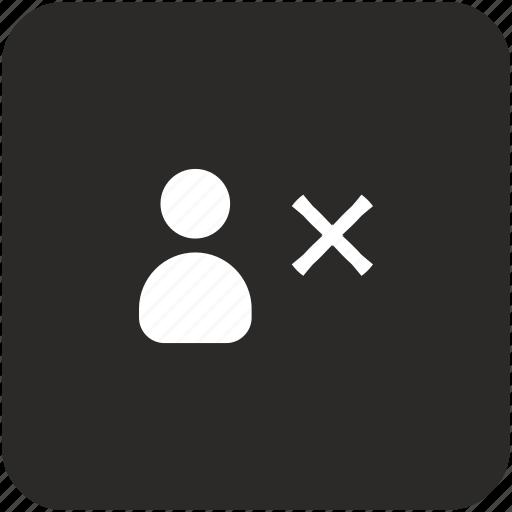 ban, close, delete, id, person, user icon