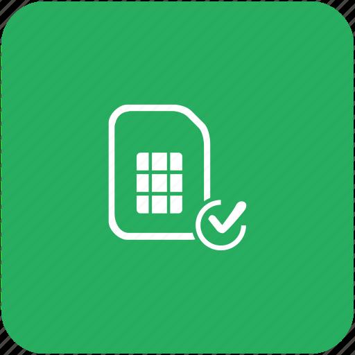 accept, access, card, confirm, green, sim icon