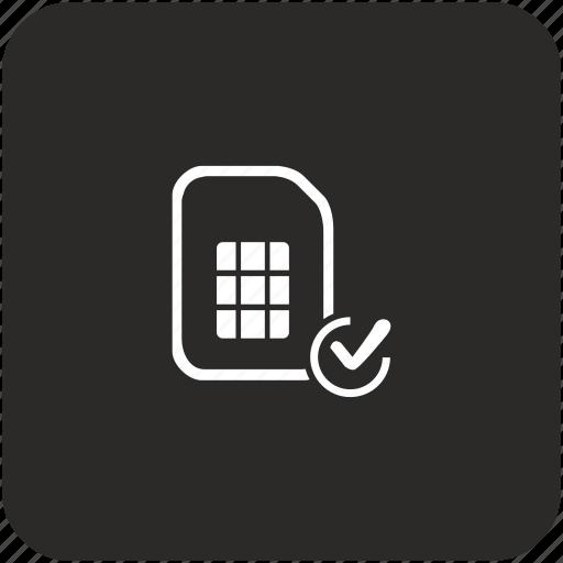 accept, access, card, confirm, sim icon