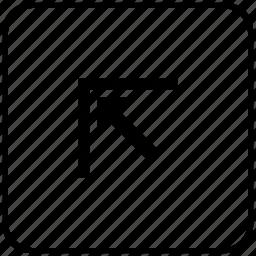 arrow, corner, function, key, left, top icon