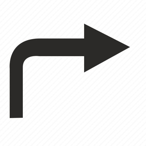 arrow, motion, right, turn icon