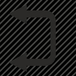 arrows, left, motion, road icon