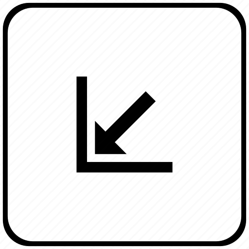 arrow, bottom, corner, function, key, left icon